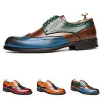 핫 드레스 신발 가죽 조각 판매는-망 다채로운 비즈니스 캐주얼 무도회 평면 편안 결혼식 좋은 품질