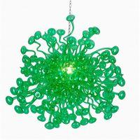 100% soffiato CE UL borosilicato Vetro di Murano Dale Chihuly Art Bright Green Glass Chandelier Fiori