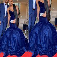 Vestidos de noche de terciopelo azul elegante 2020 con sirena dulce-corazón Dubai vestidos formales fiesta vestido de fiesta vestidos de noiva más tamaño