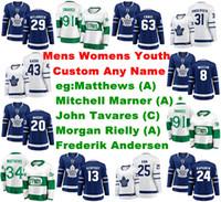 Mens anpassen Toronto Maple Leafs Trikots Auston Matthews Jersey Mitchell Marner John Tavares Andersen Rielly Eishockey Trikots genähte