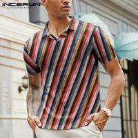 2020 Hombres de Hawai casual camisa rayada colorida de Streetwear de manga corta de verano de la solapa de la playa botón de la blusa Camisa S-5XL INCERUN