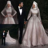 Luksusowe Suknie Ślubne Luksusowe Muzułmańskie z wysoką szyją Pełne cekiny Z Długim Rękawem Plus Size Arabskie Dubaj Wedding Suknie Ślubne Szaty