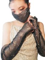 빛나는 패션 섹시한 라인 석 파티는 다이아몬드 탄성 순 행 레이디 나이트 클럽 화려한 드레스 장식을 드릴 마스크