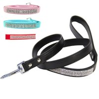 Full Luxury Rhinestone Ornament Pu Leather Pet Dog Leashes P...