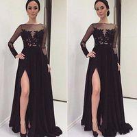 Modest Vestidos de Noche A-Line Open Leg Abiti da sera Abiti da sera Abiti da festa Abiti formali con manica lunga Dubai Spedizione gratuita