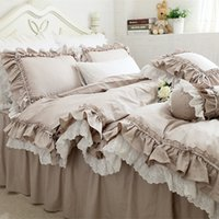 New European Khaki Bedding Set Double Ruffle Lace Duvet Cove...
