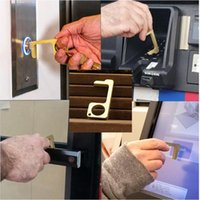 DHL Shipping Metal Handsfree Safety Touchless Hygenic Stylus Key Hook Anti Bacterial Brass Hands Free Door Handle Opener Tool X178FZ
