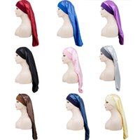 Solid Color Long Sock Sleep Wrap Night Caps Capelli Cura dei capelli Bonnet Nightcap Donne Ampia Band Band Ampio Copricapo satinato Elastico
