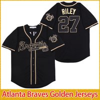 Atlanta 2019 Braves Golden Edition Jerseys Ronald Acuna Jr. Jr Ozzie Austin Riley Albies Freddie Freeman Dansby Swanson Chipper Jones