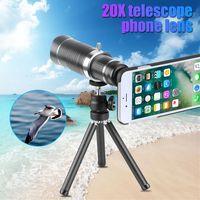 Clipe de Metal Universal 20X Zoom Lente Do Telescópio Óptico HD 20X Telefone Móvel Lente Telefoto Lente Da Câmera Do Telefone Externo Portátil Com Tripé