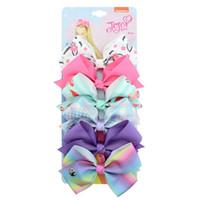 무료 DHL 54 스타일 Jojo Siwa Bow 대형 무지개 머리핀 카드와 스팽글 로고 아기 소녀 어린이 헤어 액세서리 패션 소녀 베리렛