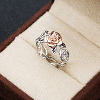Vendita caldi Solid 14k gioielli Rosegold Fiore Argento 925 anello floreale Womens Two Tone romantico rosa di nozze anelli di fidanzamento