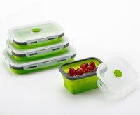 2019 nuevo diseño creativo plegable sílice gel de gel de almuerzo aislamiento conjunto de tres piezas Cajas de bento Herramientas de cocina de crisper sellada de estudiante