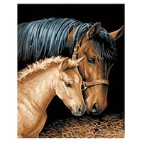 Diy Oil Painting by Numbers - Horses- PBN Kit for Adults Girl...
