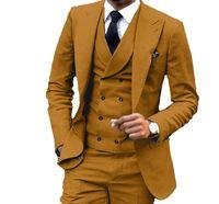 Slim Fit Kahverengi Sarı Damat Smokin Tepe Yaka Groomsmen Erkek Gelinlik Popüler Adam Ceket Blazer 3 Adet Takım Elbise (Ceket + Pantolon + Yelek + Kravat) 1047