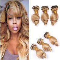 # 27 Honey Blonde humaine Bundles cheveux dénoués Onde Virgin cheveux Tissages Strawberry Blonde brésilienne onduleux Human Hair Extensions Trame 300Gram