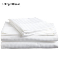 40 100% Cotton bedding set satin strip Luxury White Hotel be...