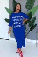 2020 лето платья женщин Негабаритных T платья рубашки Твердые с буквами для печати Моды длинного платья Trend Sports Повседневного Бич Ткань Общего D6806