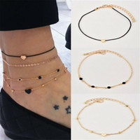 4pcs / Set Boho Mode femmes fille en or couleur coeur perles Multilayer cheville chaîne Summer Beach Pied Bijoux Bracelet cheville
