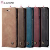 Caseme 가죽 케이스 아이폰 (12) (11) 프로 맥스 XR X XS 최대 8 SE2 SE 2020 7 6 6S 플러스 삼성 갤럭시 S10 S10E A20 A40 자석 커버를 들어 5 5S