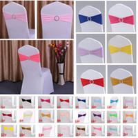 Cubiertas de colores elástico Presidente Fajas banda para sillas fiesta de la boda de fiesta con la hebilla del aro Spandex Banda hebillas cubierta 40 * 14cm HH7-942
