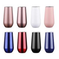 6 Unzen Edelstahl Weingläser Vakuum-Cup Stemless Weingläser Eierschale Form-Wein-Schale Kaffeetasse mit Deckel Süßigkeit Farben