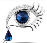 Estrella de cristal de cristal con el mismo Ángel lágrima de broche de diamantes grandes ojos largas pestañas broche WY392