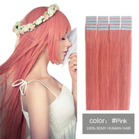 Pink Red Blue Yellow Lilac fancy Color Tape in Human Hair Ex...