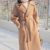 Tamaño más flojo de lana caliente Mezclas invierno largo abrigo de cuello de apertura de cama ajustable Cinturón de lana abrigos Mujeres Trabajo de oficina elegante vestir