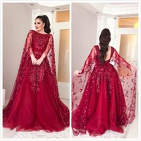 Burgundy Lace Beaded 2019 Arabic Evening Dresses Backless A-...