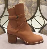 Magro Ladys Botas Preto couro de bezerro Genuine botas de fundo vermelho para mulheres Karistrap Estilo alta bloco salto da bota Ankle Boots com cintas