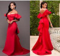 2020 rojo magnífico de la sirena de los vestidos de las damas de honor fuera del hombro sin respaldo dama de honor de longitud de satén fiesta de la boda Tamaño más barato