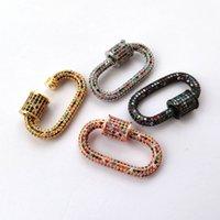 Handgefertigte Schmuckzubehör Luxus Cubic Mehrfarbenspirale Schrauben-Haken-Anschluss-Anhänger-Zusatz für DIY Halskette Schmucksachen, der KT004