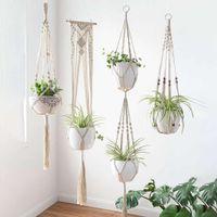 4 pçs / lote macrame plant hangers criativos desenhos artesanais parede interior pendurado plantador planta titular moderno boho decoração de casa