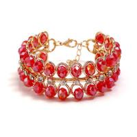 Basit moda elmas kakma Cam Boncuk Bilezik yaratıcı kristal bilezik Gelin Takı