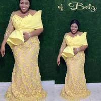 2020 Individueller Aso Ebi Arabisch Gelb-Nixe-Abend-Kleider Spitzen Perlen lange Ärmel Abendkleid Weinlese-formale Partei-Brautjunfer-Festzug-Kleider