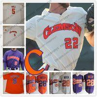 사용자 정의 Clemson 호랑이 2019 대학 야구 모든 번호 이름 흰색 오렌지 보라색 풀오버 버튼 # 28 세스 맥주 8 Logan Davidson Jersey S-4XL