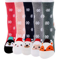 Новые женщины теплые носки зима толстый хлопок чулок мультфильм снег Рождество носок для Леди девушка высокое качество мягкий Рождество милый мультфильм носок