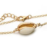 Bracciali Charms Shell per catena regolabile Women Girl Bohemian Dichiarazione gioielli braccialetto colore oro Beach Party braccialetti di modo regalo DHL