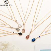6 colores collar capa de resina Druzy Piedra Doble con perla del oro de color y forma de lágrima collar colgante de regalo para el Día de la Mujer-Z Valentine