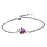 SL093 BELAWANG Alta Calidad de Plata Europea Corazón Colgante de Perlas Pulseras Brazaletes con Granos de Cristal para Las Mujeres Joyería de DIY con caja