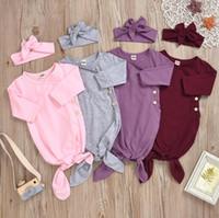 الرضع أكياس النوم أطفال مصمم ملابس الطفل الحلوى اللون طويل الأكمام قماط العصابة الدعاوى الأطفال زر القطن بطانية هيرباند LSK50