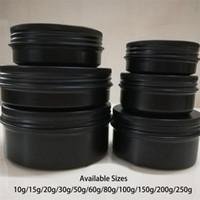 10g 20g 30g 50g 60g 80g 100g 150g 200g 매트 블랙 알루미늄 항아리 화장품 로션 병 크림 컨테이너 주석 무료 배송 비우기