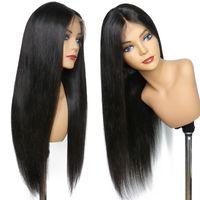 360 dentelle perruque frontale brésilienne cheveux vierges droite 360 pleine dentelle frontale perruques de cheveux humains préreinés avec des cheveux bébé