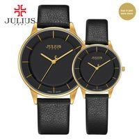 JULIUS Erkek Kadın İzle Çiftler Top Marka Lüks Basit Deri Kayış Ultra İnce Saatler Ucuz Promosyon Tasarım Saat Saat JA-957