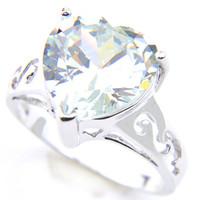 Качество 925 серебряных Обручальные кольца Cut Сердце белый топаз Драгоценные камни для женщин Мода Обручальное подарка кольца ювелирных изделий
