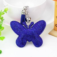 New cute doll butterfly crystal key chain rhinestone keyring...