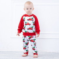 유아 아기 크리스마스 빨간 차 인쇄 의류 세트 어린이 긴 소매 까마귀 꼭대기 + 바지 2PCS 어린이 소년 크리스마스 의상