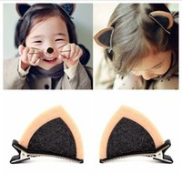 Tocado de los niños accesorios para el cabello para el bebé niñas preciosas orejas de gato horquilla de bebé carpeta superior emitir sub 6 opciones de color A190