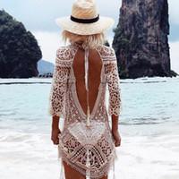 2019 модный пляжный отдых солнцезащитный крем сексуальное кружево крючком обратно платье бикини блузка